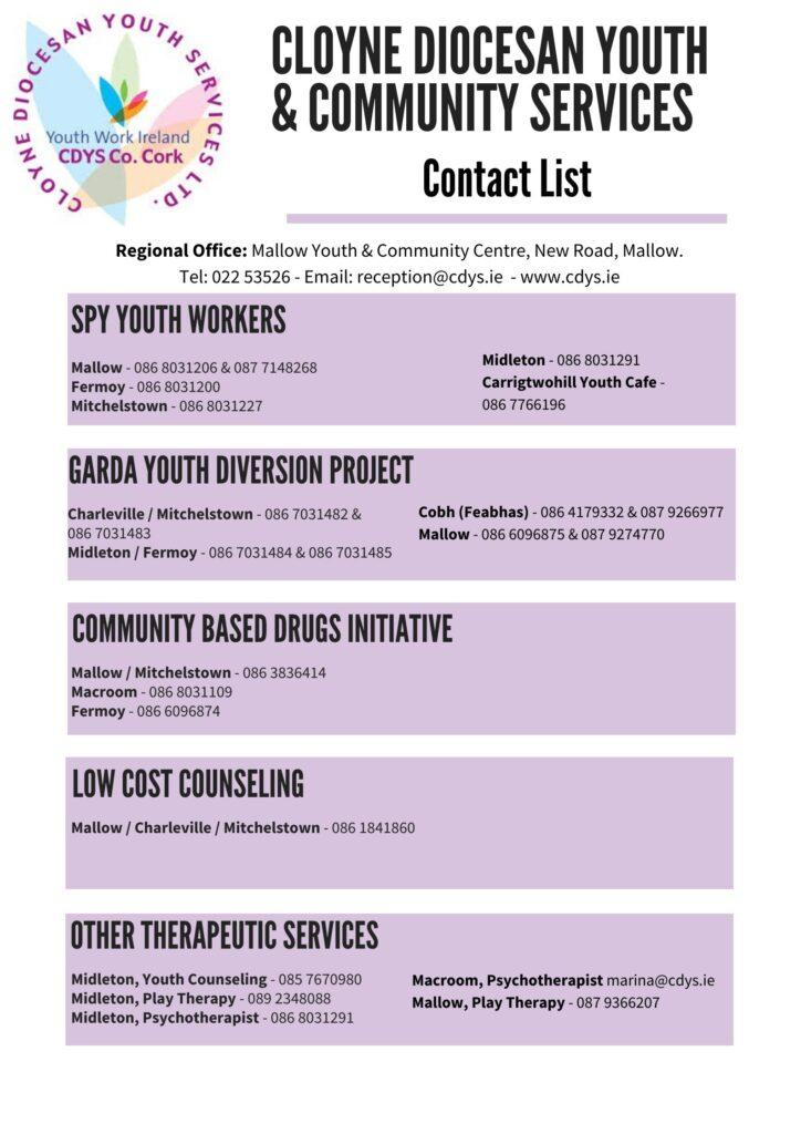 CDYS Contact List